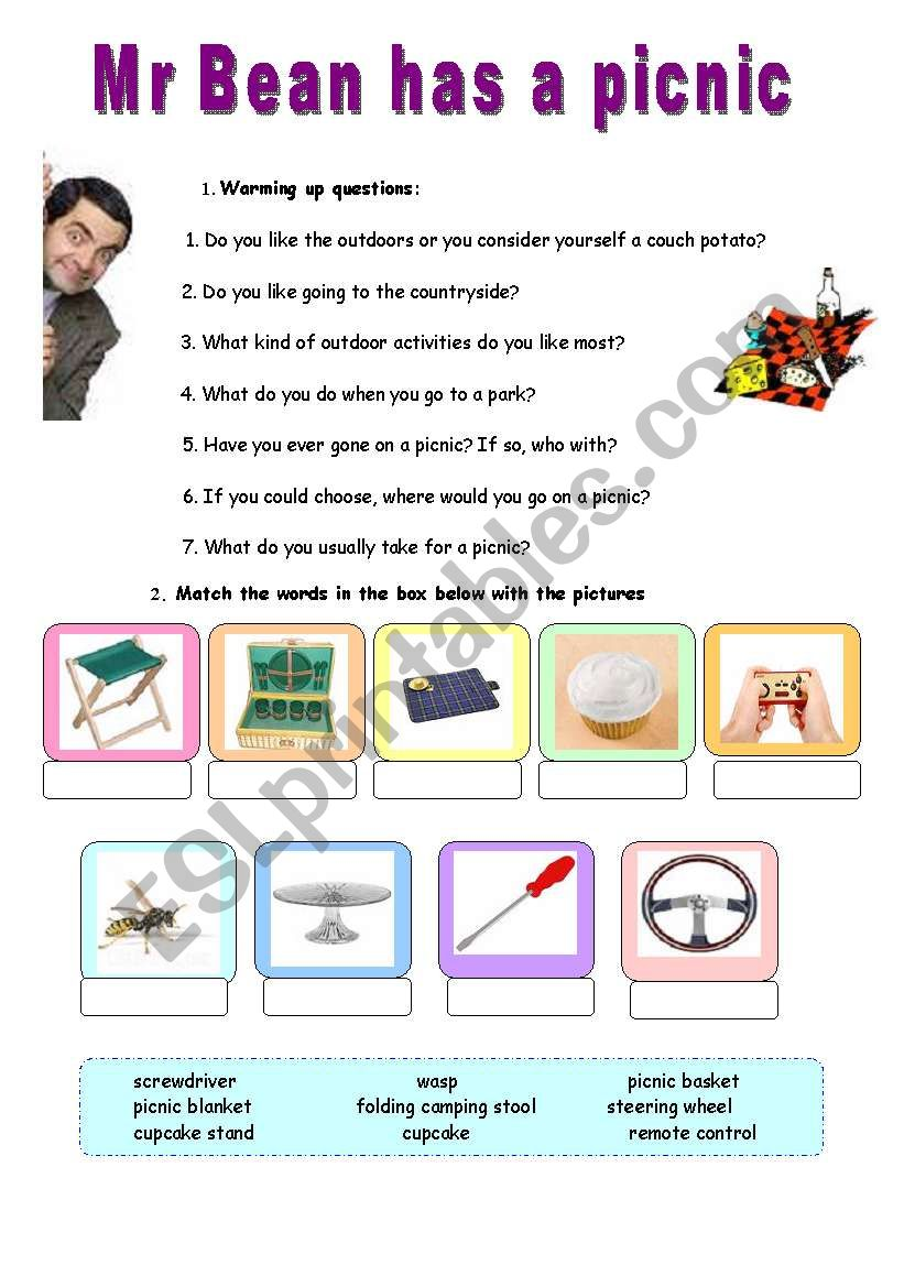Mr bean has a picnic video session esl worksheet by lotas mr bean has a picnic video session solutioingenieria Image collections