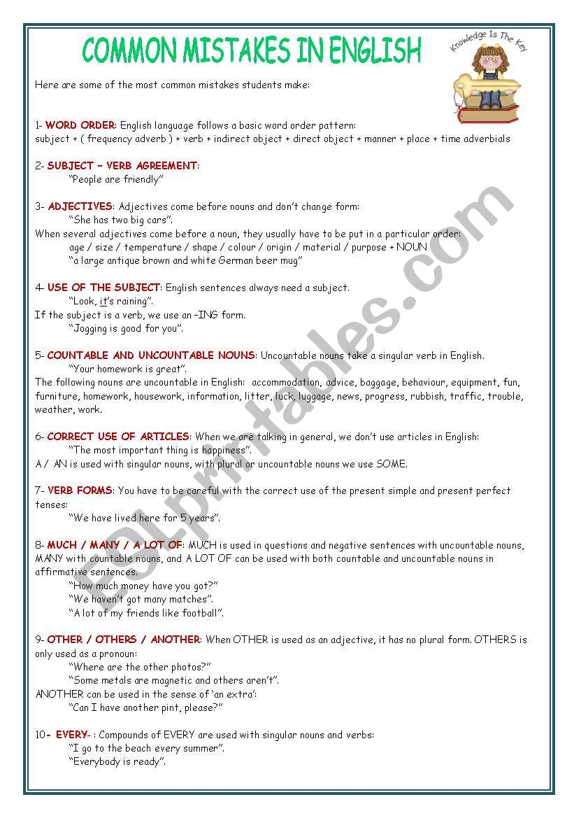 COMMON MISTAKES IN ENGLISH worksheet