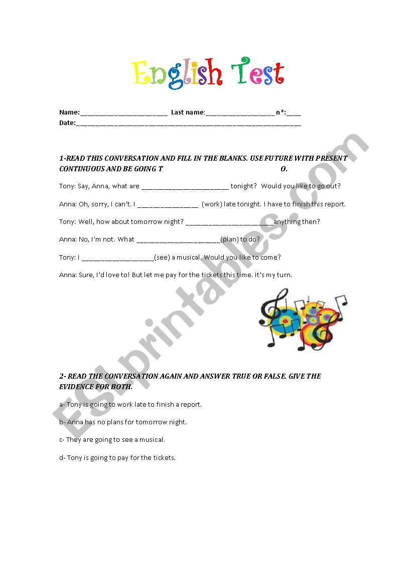 English Test worksheet