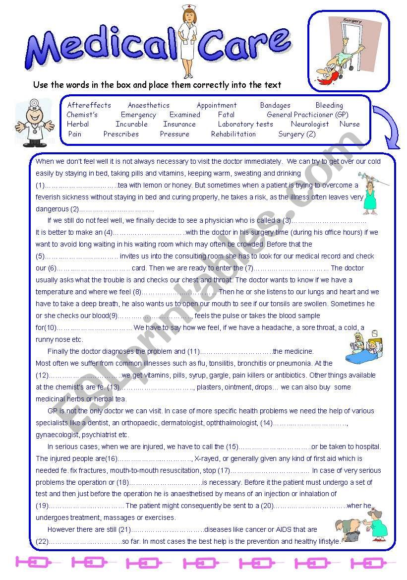 Medical Care - Reading Comprehension and Vocabulary