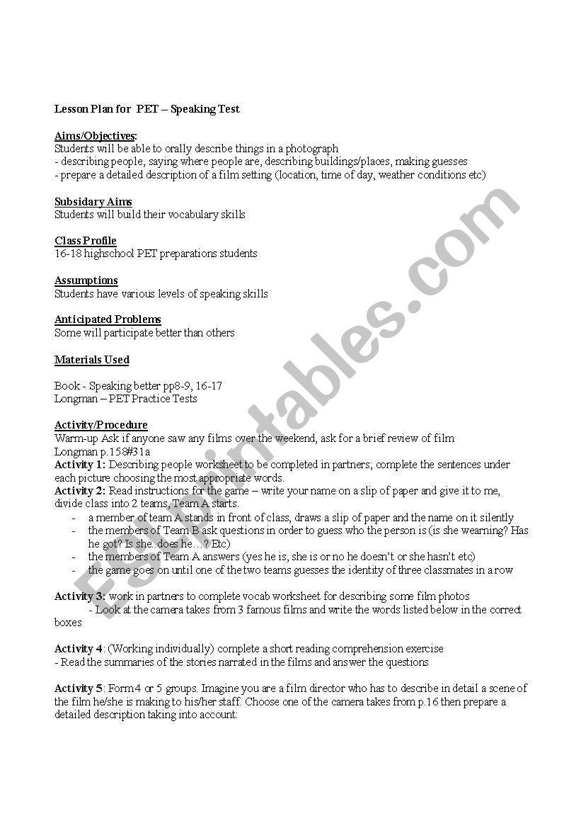 Lesson Plan for PET speaking test - ESL worksheet by Folco