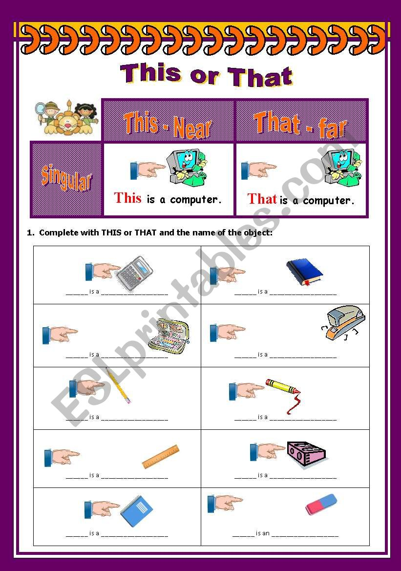 This or That  - part 01 worksheet