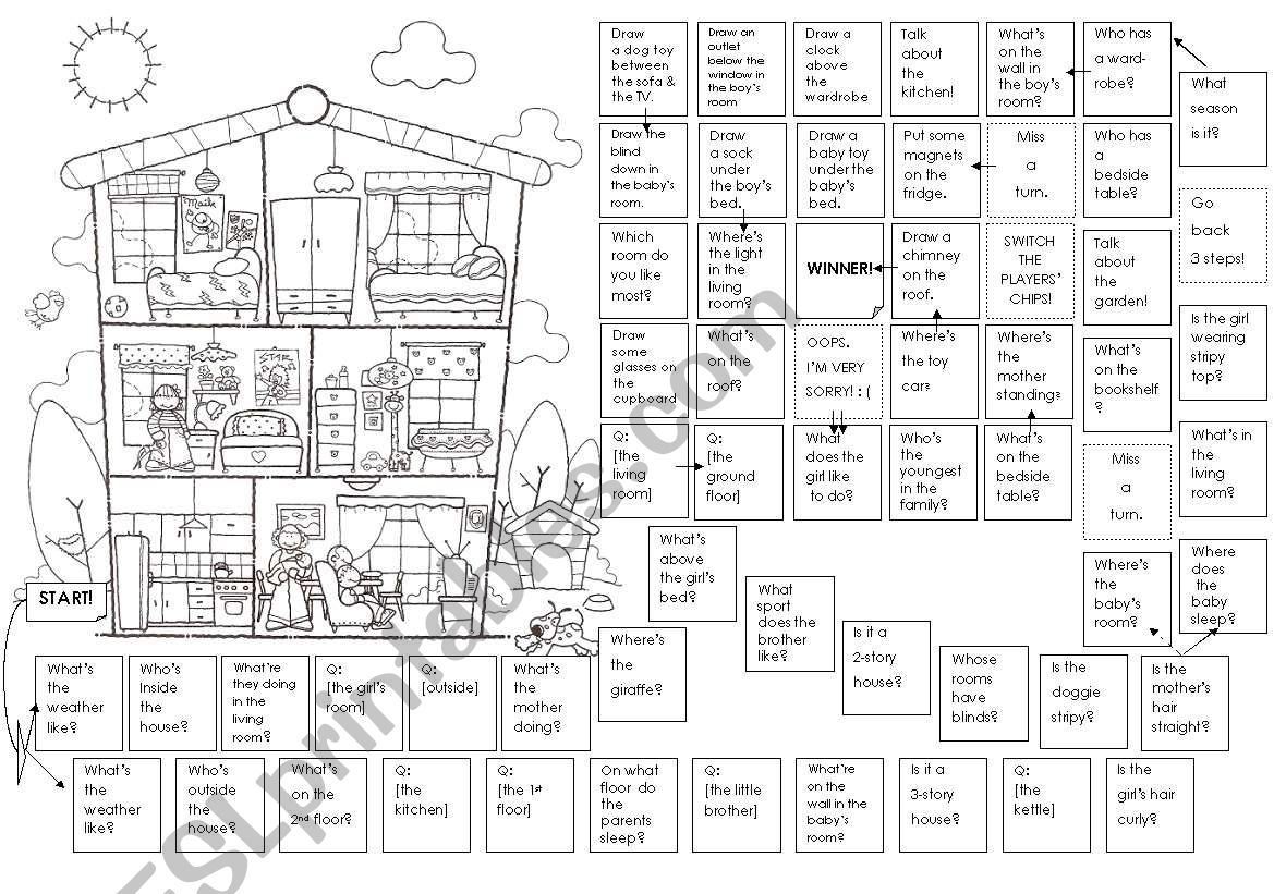 Board Game with a picture of a 3-story house - mainly Prepositions