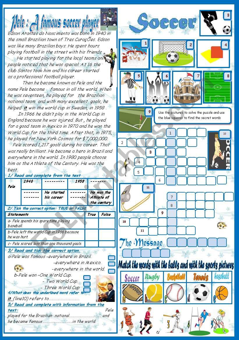 Soccer: Reading Comprehension+ A crossword Game+ A  matching Task (+Key)