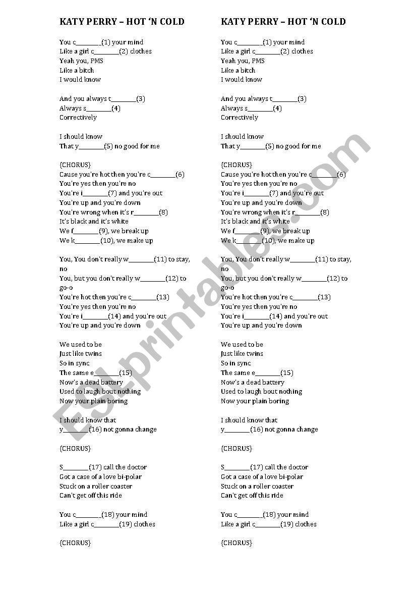 Katy Perry - Hot ´n Cold worksheet