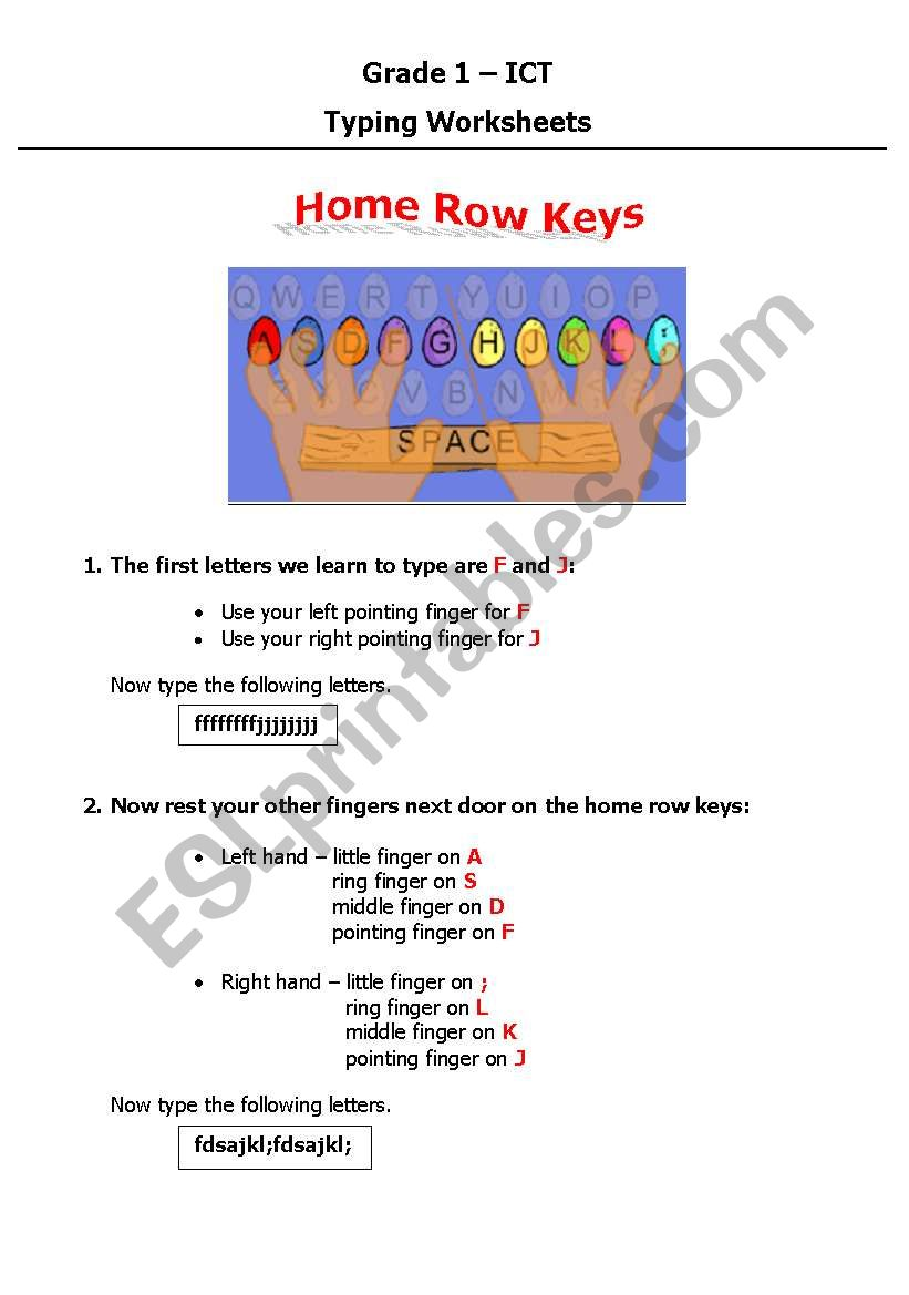 Worksheets Home Row Keys Worksheet english worksheets home row keys worksheet