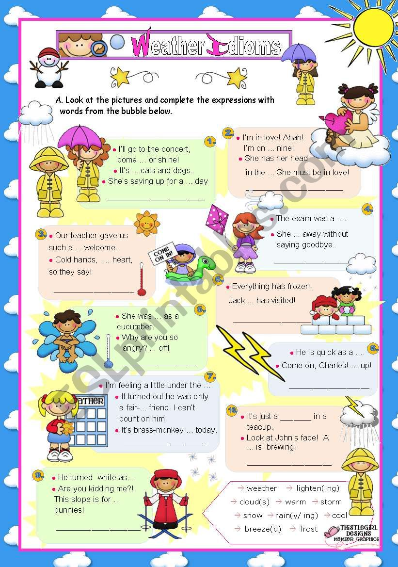 Basic Weather Idioms for Elementary/Lower Intermediate Students