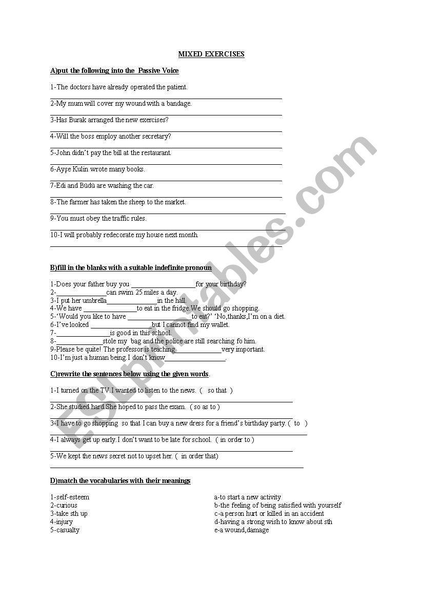mixed exercises worksheet