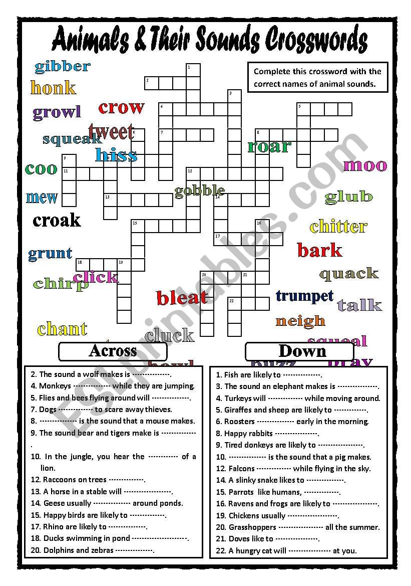 Animals and Their Sounds Crosswords (Part 2)