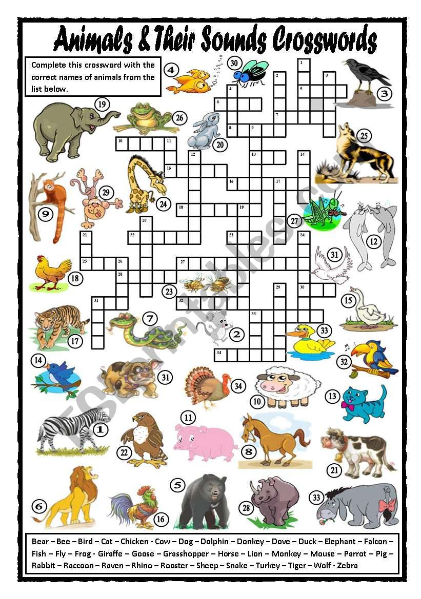 Animals and Their Sounds Crosswords