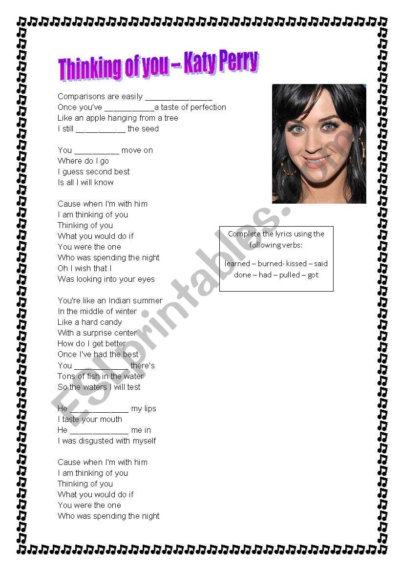 Song - Katy Perry - Thinking of you - ESL worksheet by Lena