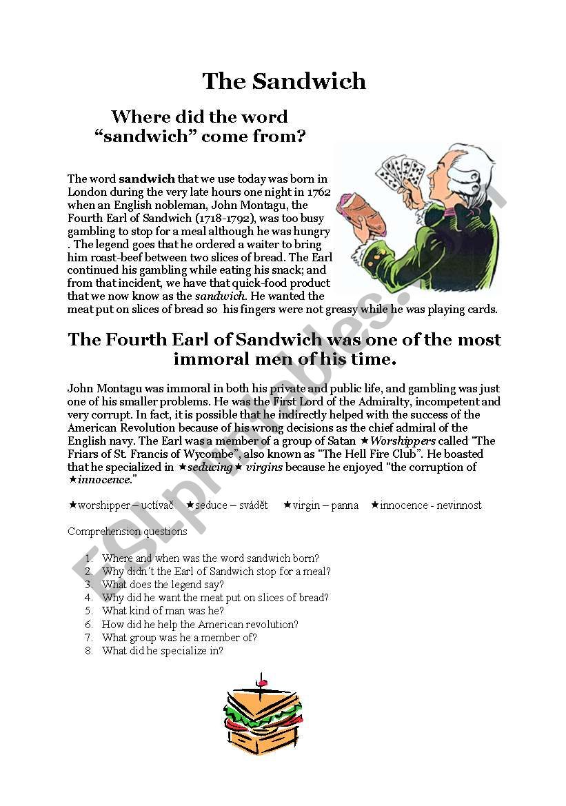 History of the sandwich worksheet