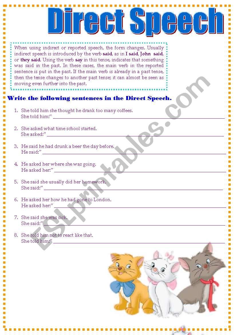 Direct Speech - ESL worksheet by CandyB