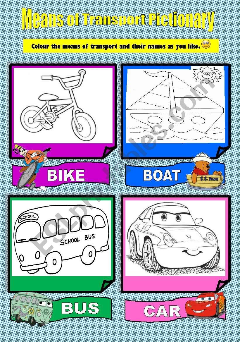 Means of Transport Pictionary worksheet