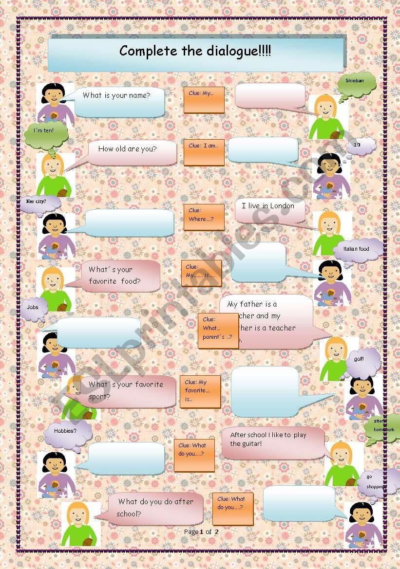Just talking! worksheet