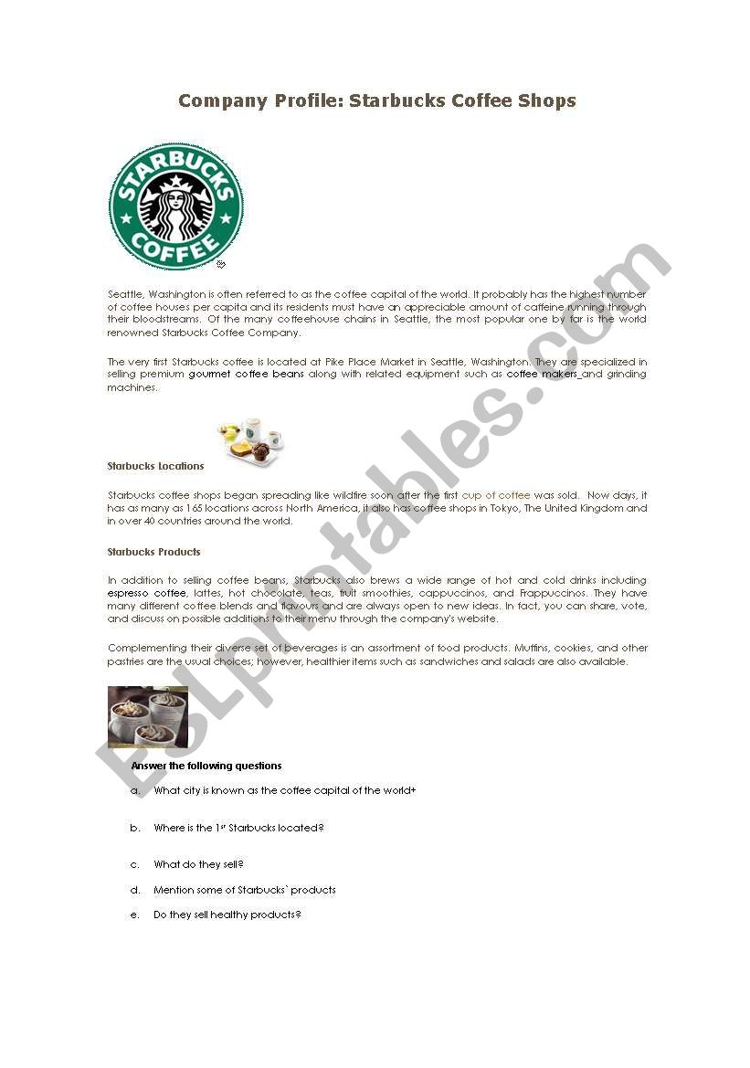 COMPANY PROFILE: STARBUCKS  worksheet