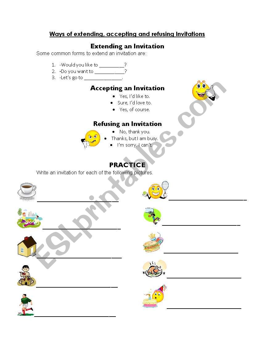 Invitations Extending Accepting And Refusing Esl Worksheet By