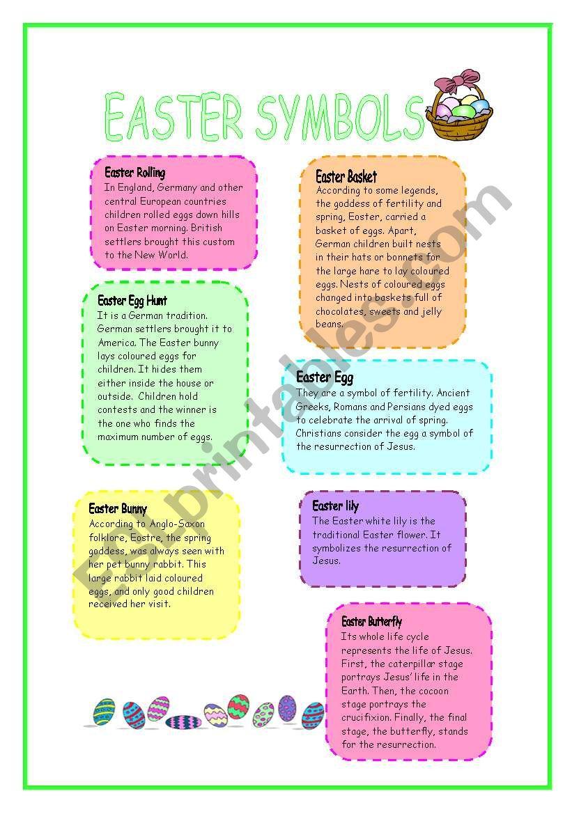 EASTER SYMBOLS worksheet