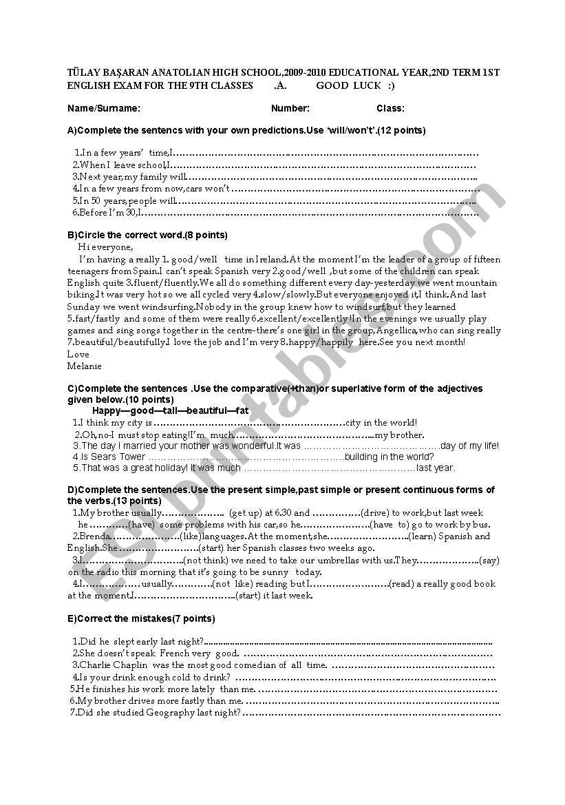 exam paper for elementary students
