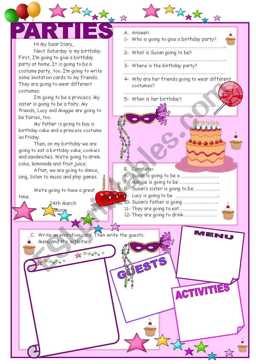 UNIT 8: PARTIES  worksheet