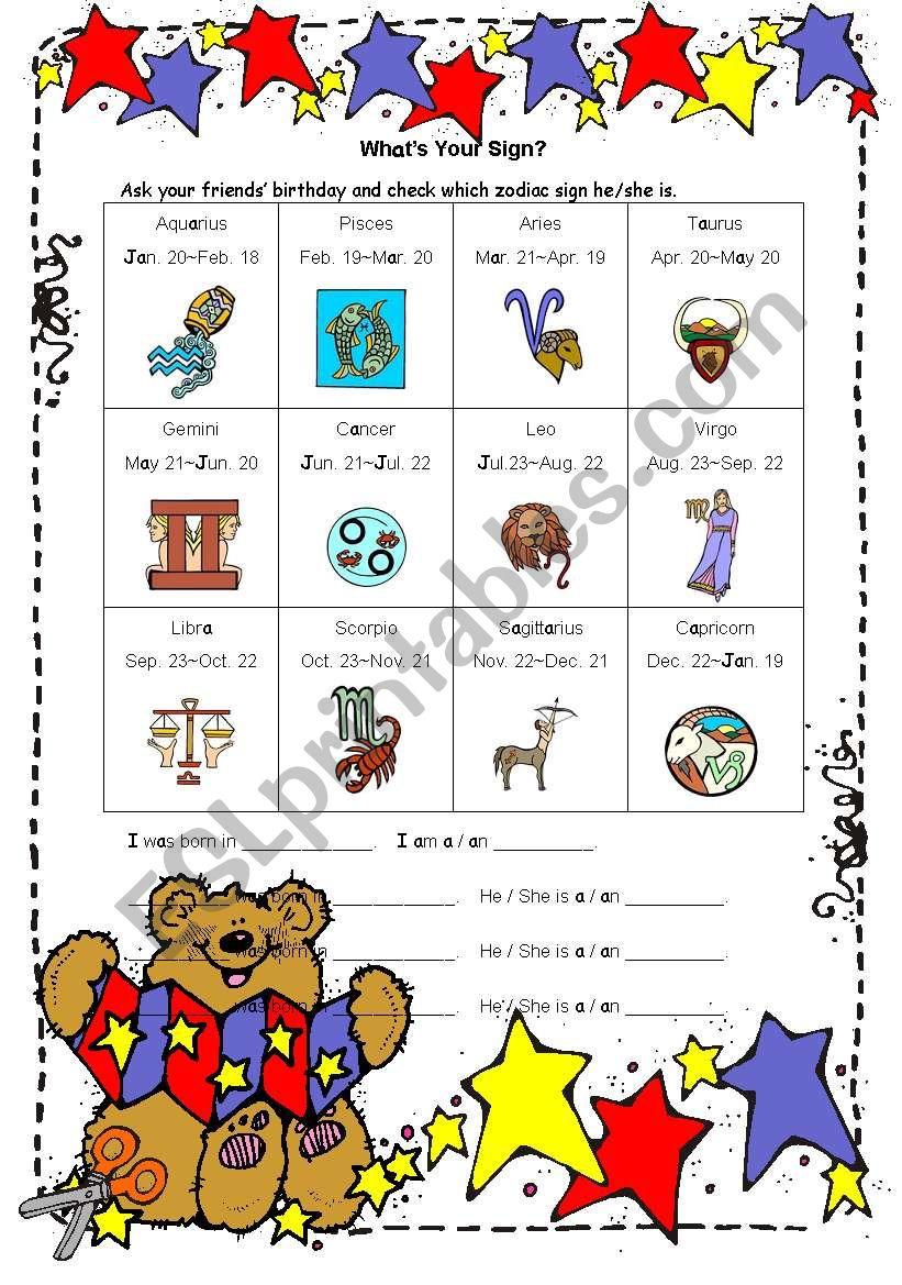 Zodiac Sign worksheet