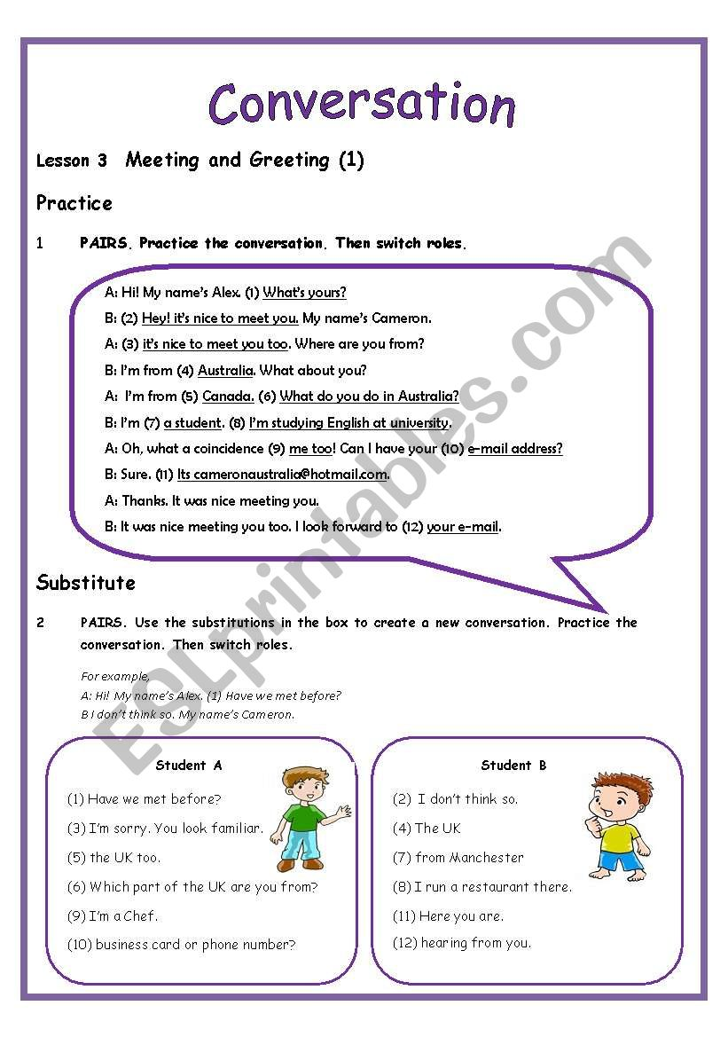 Conversation Lesson 3 Meeting And Greeting 3 Pages Includes