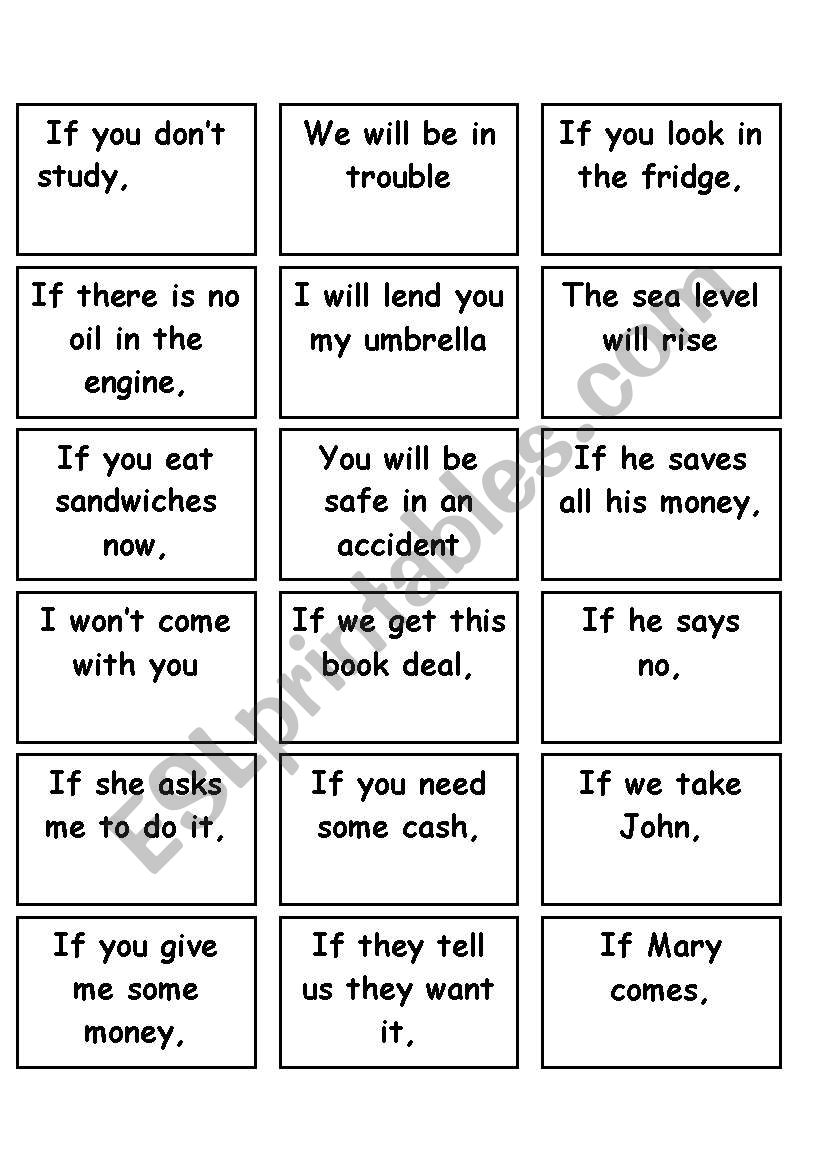 Memory Game First Conditional worksheet