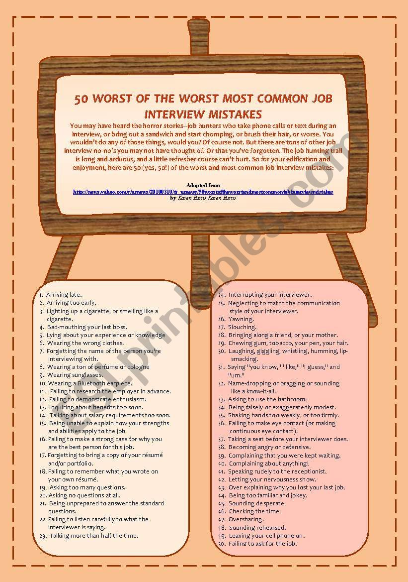50 WORST OF THE WORST COMMON JOB INTERVIEW MISTAKES