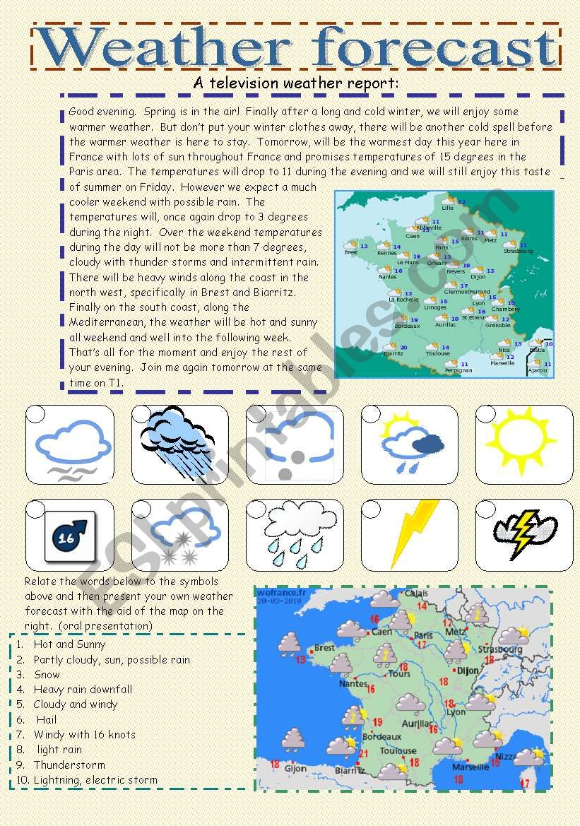 weather forecast worksheet