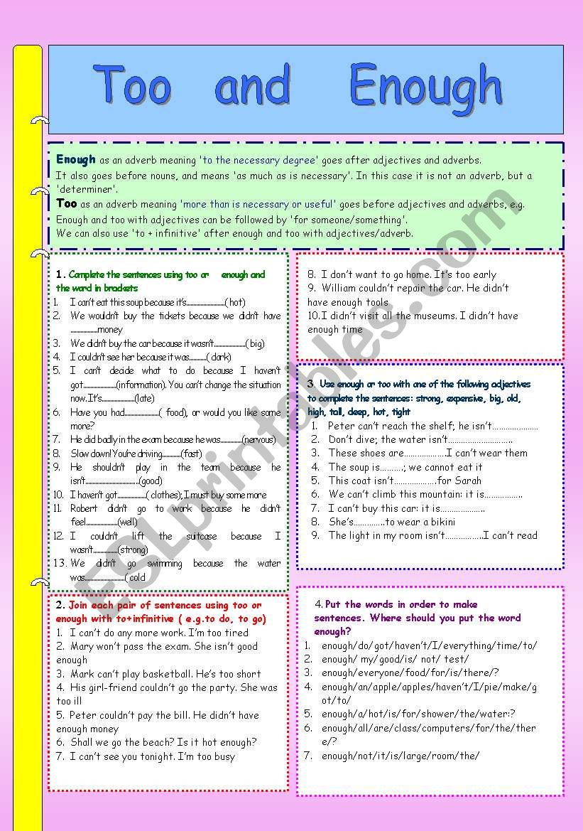 too and enough worksheet