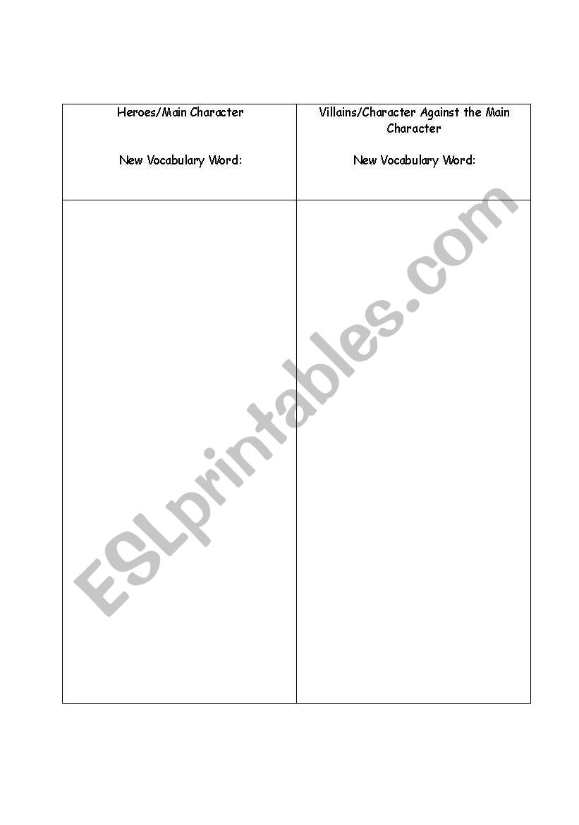 worksheet Protagonist And Antagonist Worksheet english worksheets protagonist and antagonist chart chart