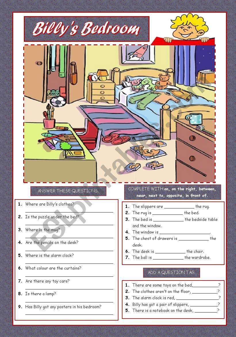 BILLY´S BEDROOM worksheet