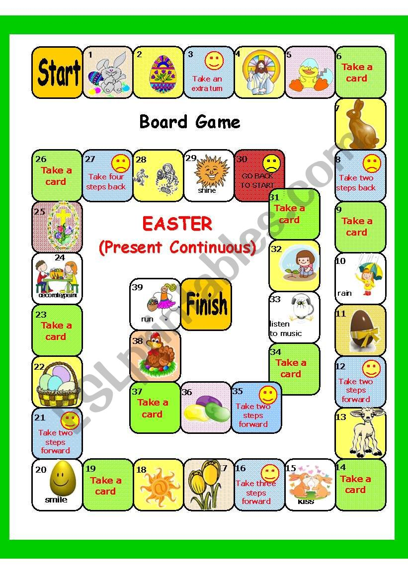 EASTER plus Present Continuous BOARD GAME + key (3 pages) - ESL ...