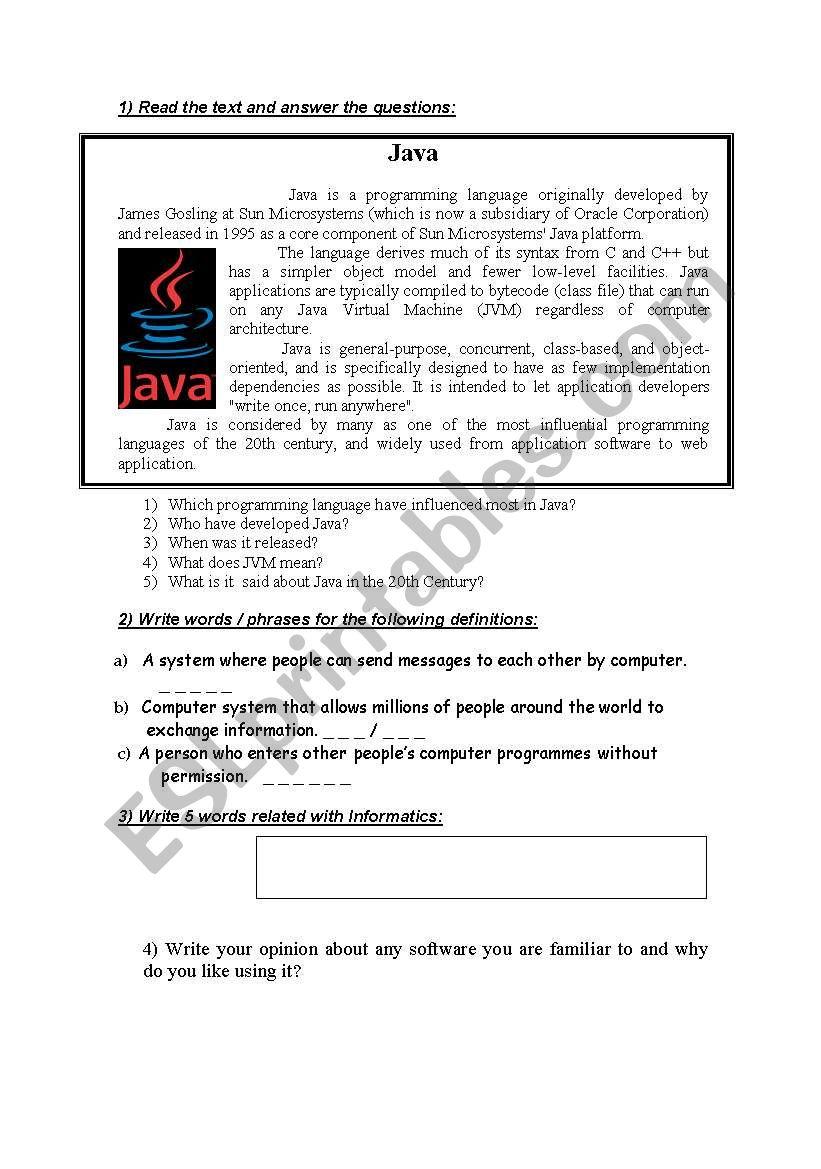 Test based on technical English