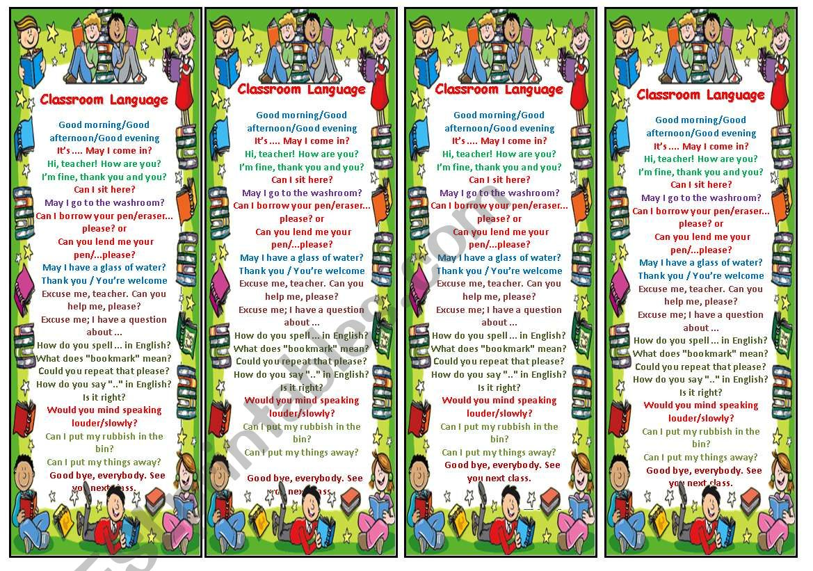 Bookmarks with Classroom Language