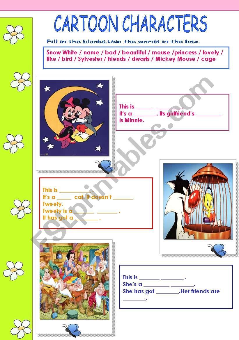 Cartoon Characters worksheet