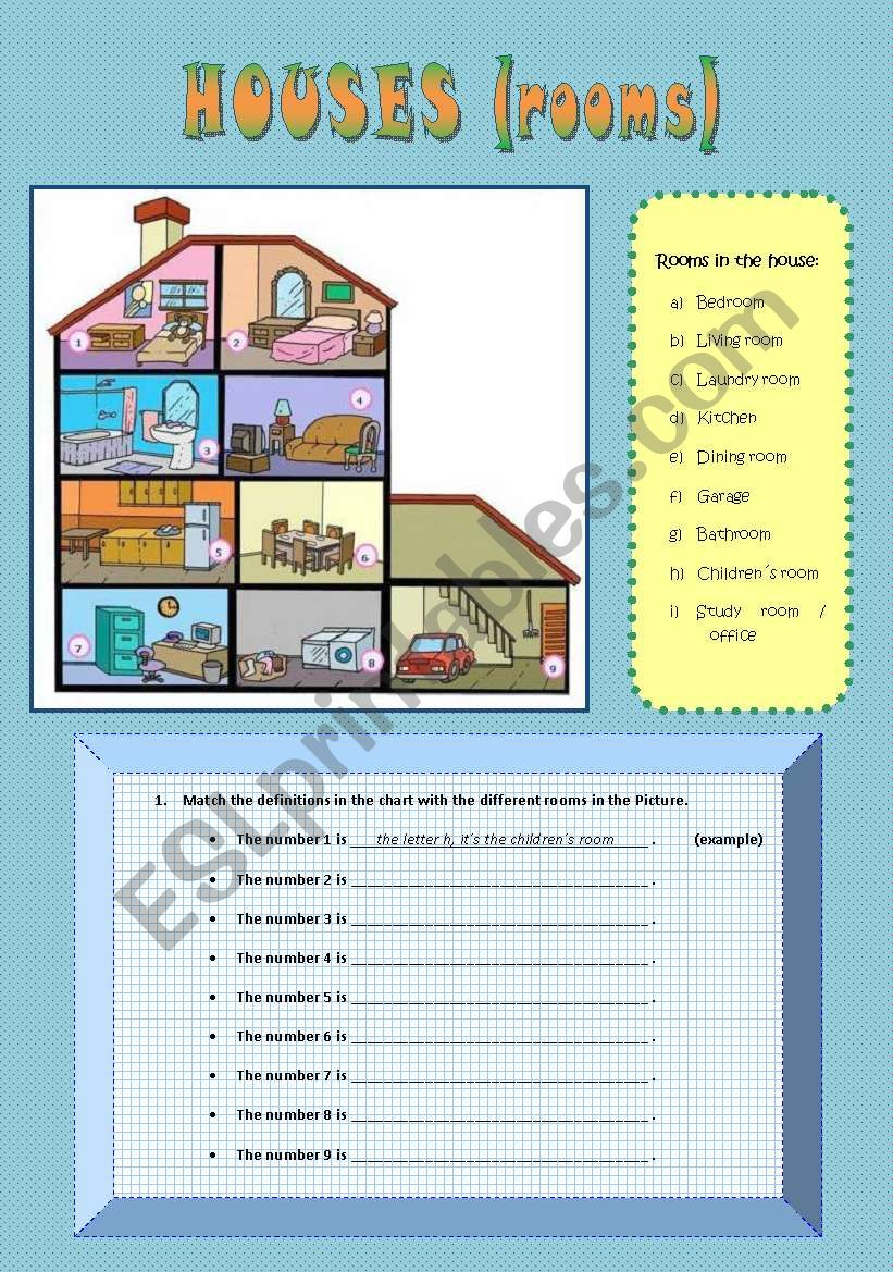 House Rooms Worksheet: Houses (rooms And Furniture)