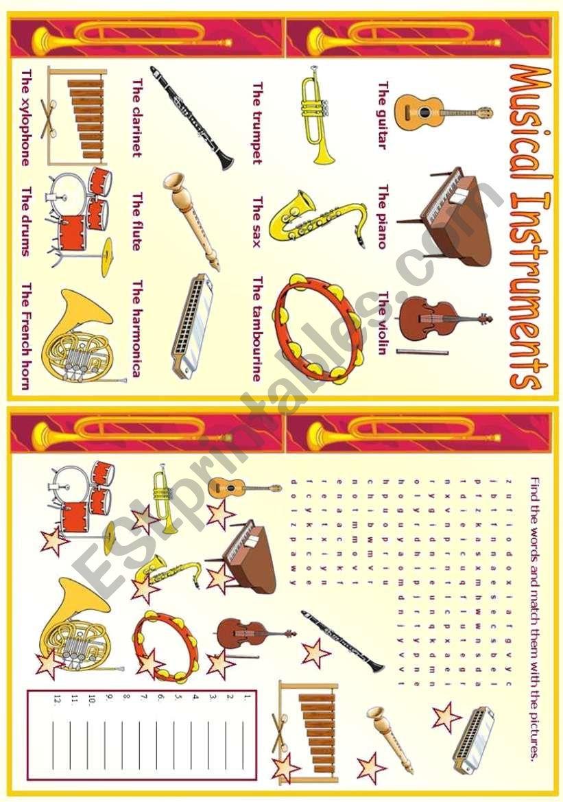 Musical Instruments worksheet