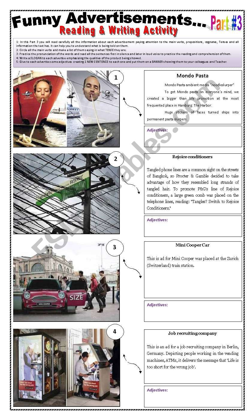 14 FUNNY ADVERTISEMENTS - ( 5 pages - Part 3 of 3) - Writing + Describing Pictures -  5 Activities