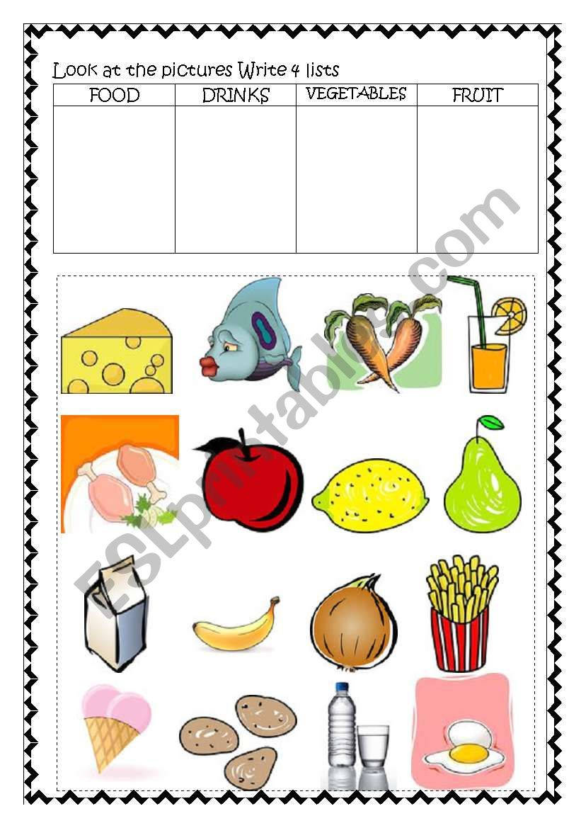 Food and Drinks Revision worksheet