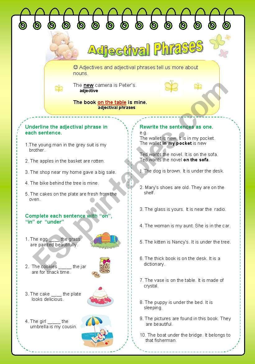 Adjectival Phrases Esl Worksheet By Allbright