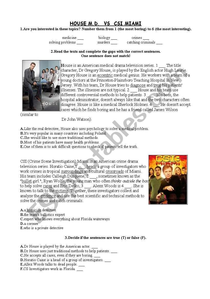 Reading CSI Miami vs House MD - ESL worksheet by gossipgirl