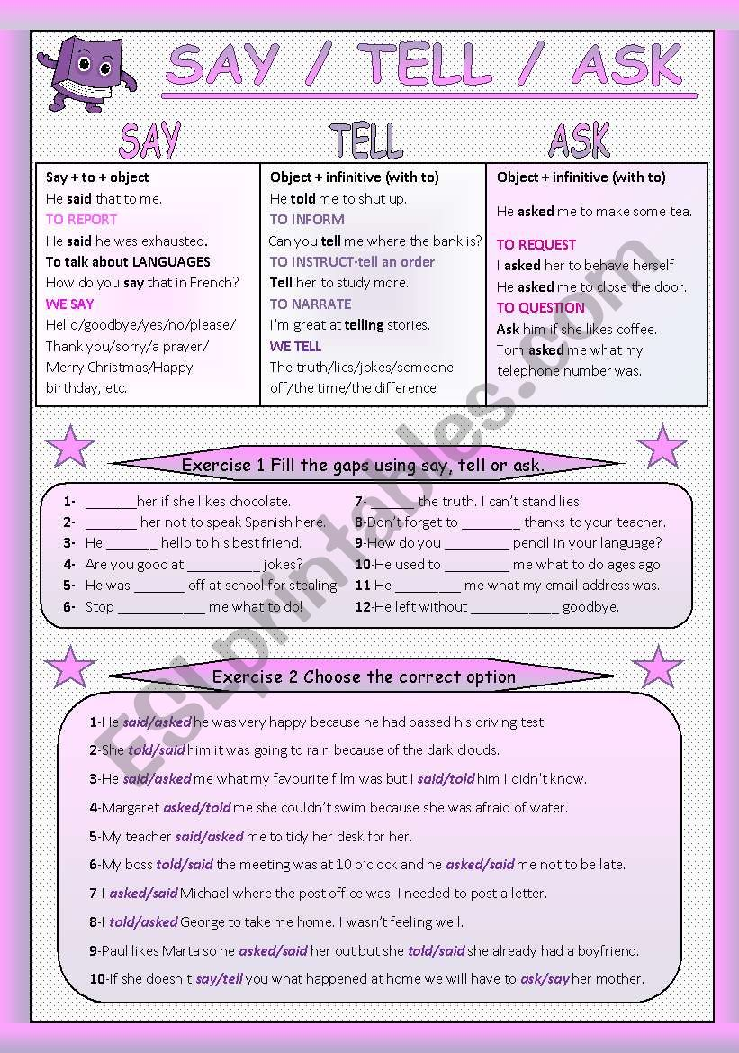 SAY/TELL/ASK worksheet
