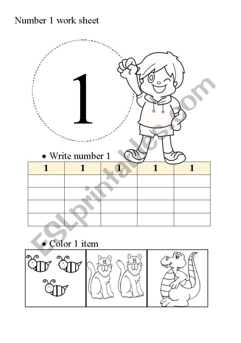 Number 1 work sheet worksheet