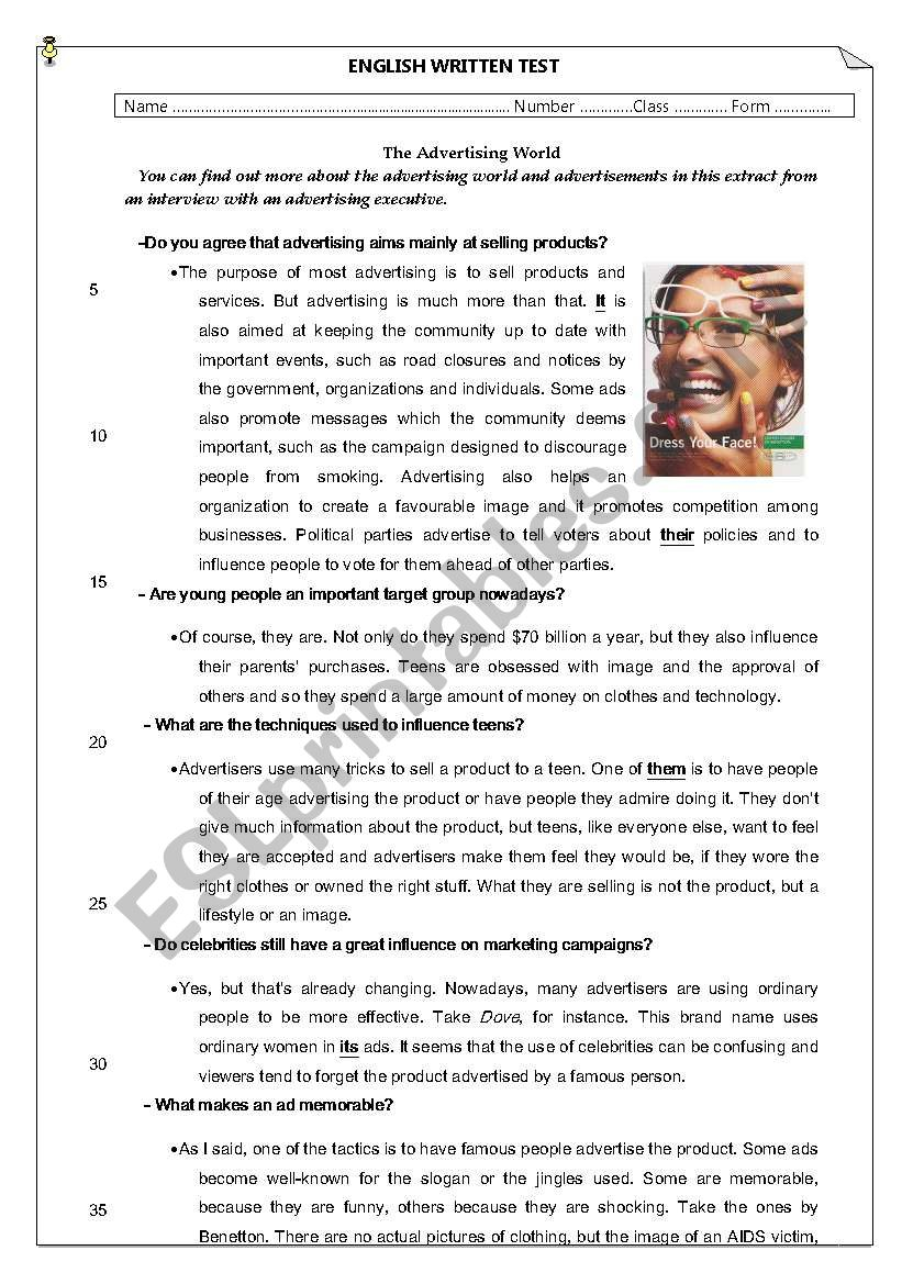 test about advertising worksheet