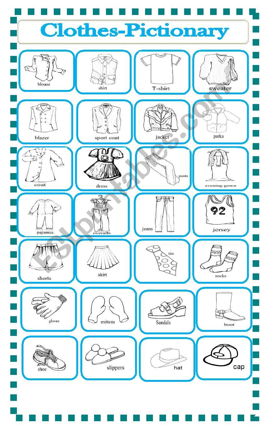clothes-pictionary worksheet