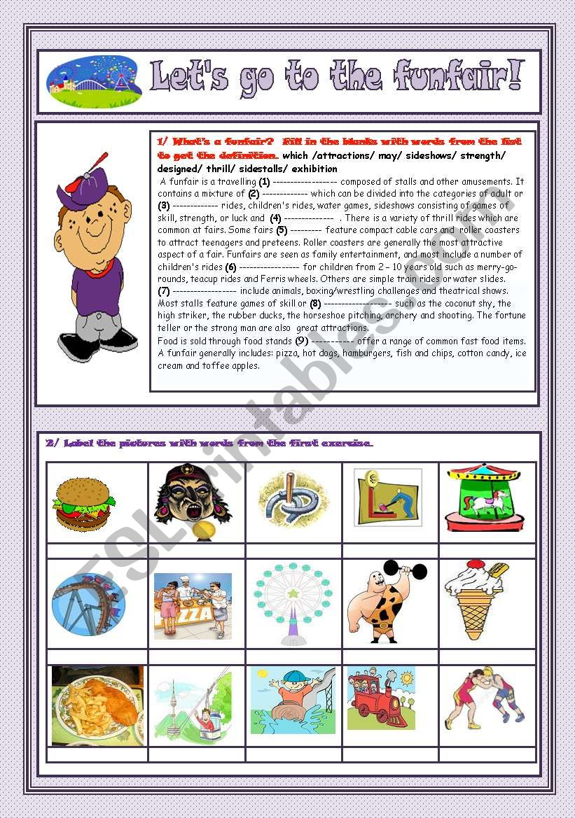 Entertainment: Let´s go to the funfair (2pages)