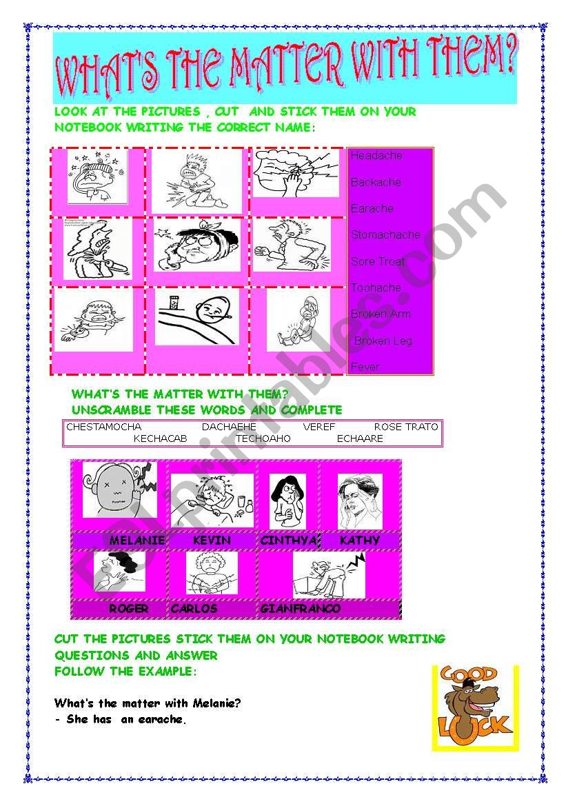 WHAT´S THE MATTER WITH THEM? worksheet