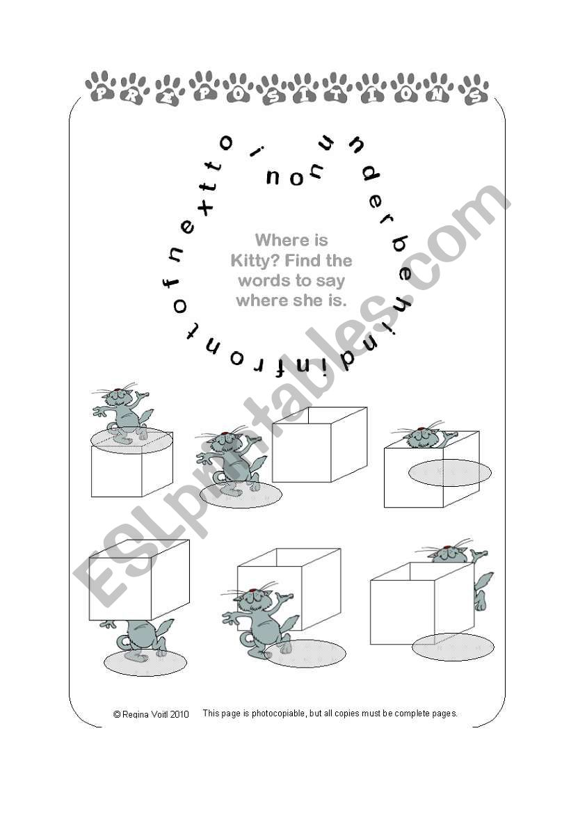 Prepositions of Place (Easy) with Kitty & Word Search (by blunderbuster)