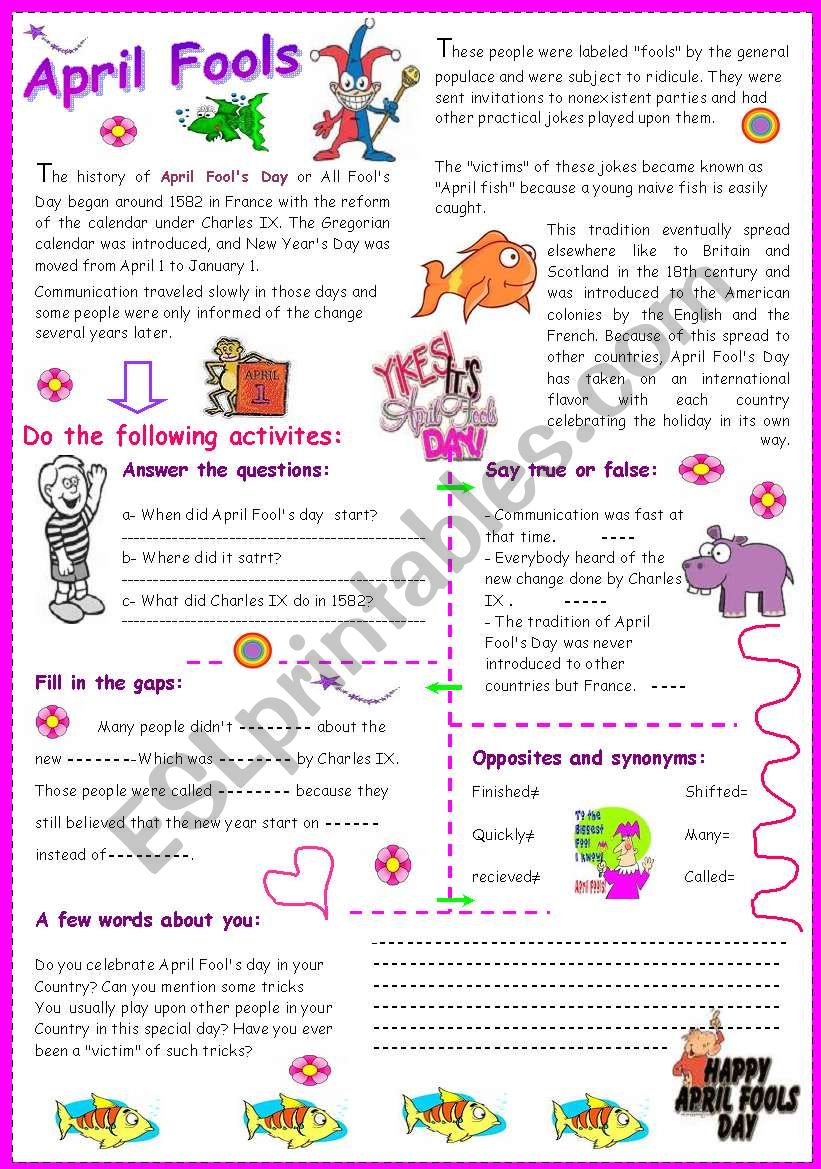 April Fools worksheet